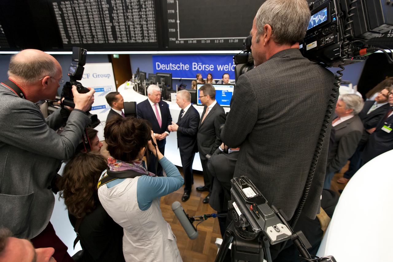 Media representatives at IPO in front of DAX board (landscape)